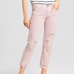 NWT Mossimo Pink Boyfriend Crop Ripped Jeans 18